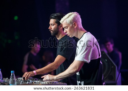 Yellow Claw band performing live at Space Moscow nightclub in Moscow, Russia on 8 February 2015 - stock photo