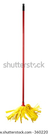 Yellow Cleaning Mop - stock photo