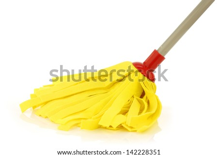 yellow cleaning mop isolated on white background - stock photo