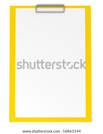Yellow clipboard isolated on white - 3d illustration - stock photo