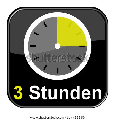 Yellow clock on black Button showing 3 hours in german language