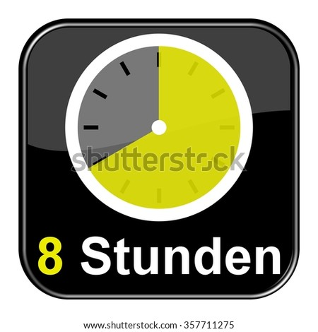 Yellow clock on black Button showing 8 hours in german language