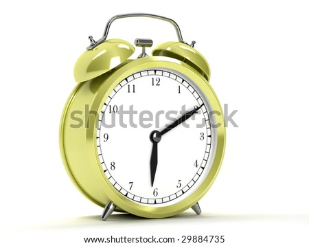 Yellow clocks on white background