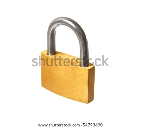 Yellow closed padlock isolated