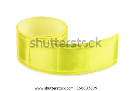 Yellow clothing reflective tape isolated on white - stock photo
