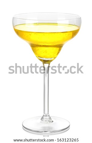 Yellow cocktail in glass isolated on white - stock photo