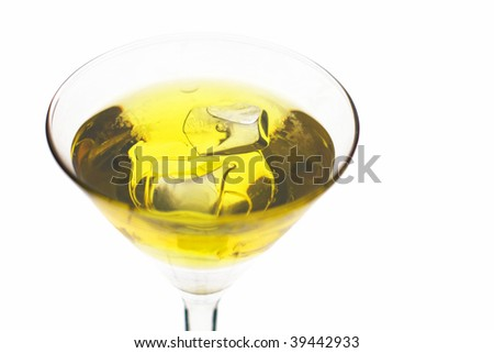 Yellow cocktail in martini glass with ice. Isolated on White Background - stock photo