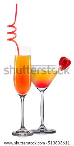 Yellow cocktail with strawberry isolated on white background.