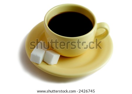 yellow coffee cup with sugar - stock photo