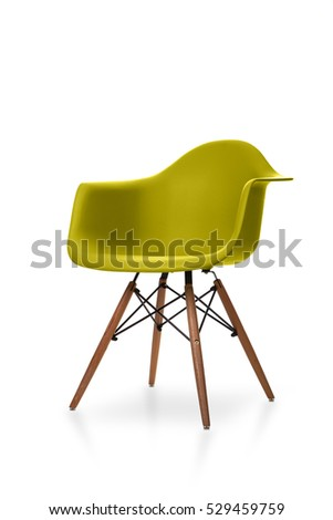 Yellow color chair, modern designer chair isolated on white background. Plastic chair