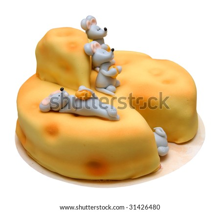 Yellow color for her. Birthday cake, candles and popcorn - stock photo