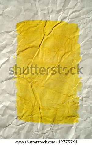 Yellow color framed painted crushed paper as background. Art is painted by photographer. - stock photo
