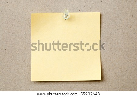 yellow color note paper with pin - stock photo