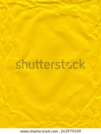 Yellow color wrinkled paper as background. Art is painted by photographer. - stock photo
