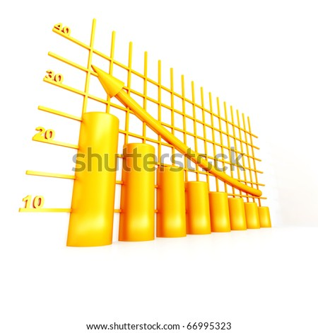 yellow columns of diagram with arrow rising upwards - stock photo