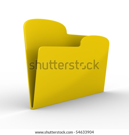 Yellow computer folder on white background. Isolated 3d image - stock photo