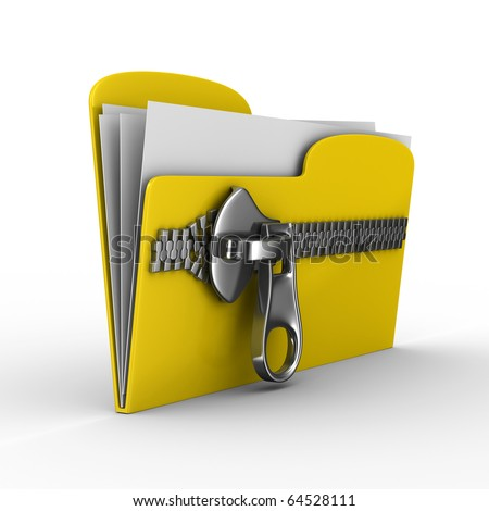 Yellow computer folder with zipper. Isolated 3d image - stock photo