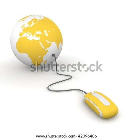 yellow computer mouse connected to a yellow globe - stock photo