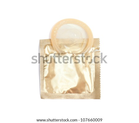 Yellow condom with open pack, isolated on white background - stock photo