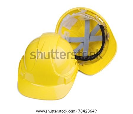 Yellow construction and industrial helmet isolated on white background