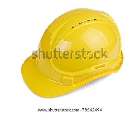 Yellow construction and industrial helmet isolated on white background - stock photo