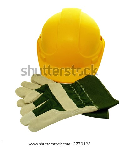 Yellow construction Hat and protective gloves - stock photo