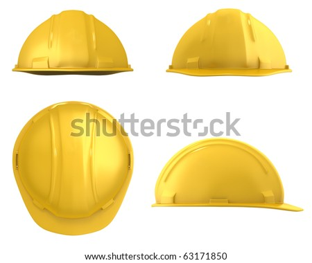 Yellow construction helmet four views isolated on white - stock photo
