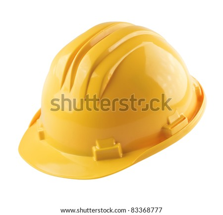 Yellow construction helmet isolated on white