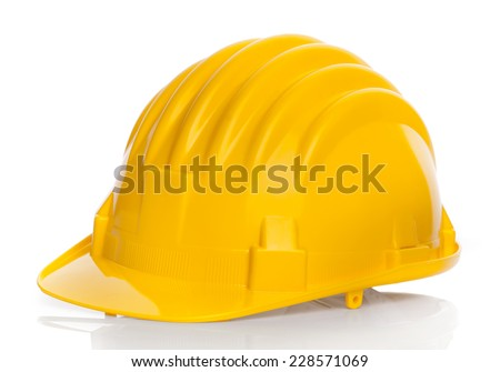 Yellow Construction Helmet Isolated On White Background. - stock photo