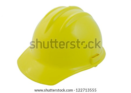 Yellow construction helmet side view, isolated on white
