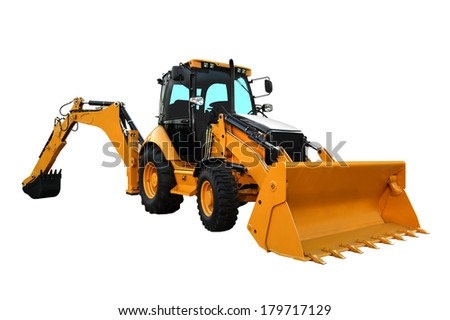 Yellow Construction Machine Isolated on the White Background - stock photo