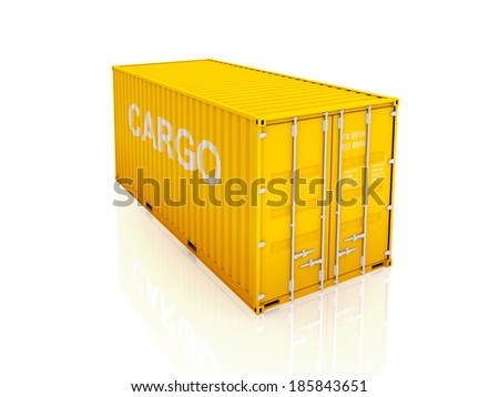 Yellow container.isolated on white.3d rendered. - stock photo