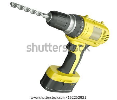 Yellow cordless drill isolated on a white background. 3D render