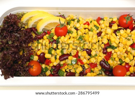 Yellow Corn With Beans And Vegetables Salad - stock photo