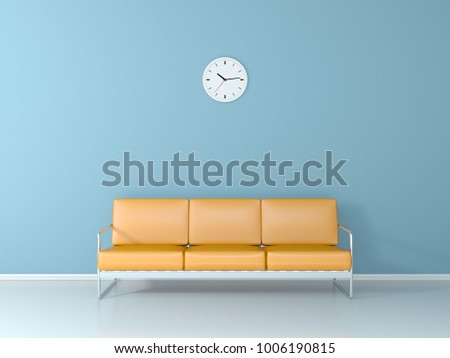 Yellow couch in the blue waiting room 3D render
