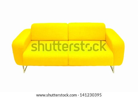 yellow couch isolated - stock photo