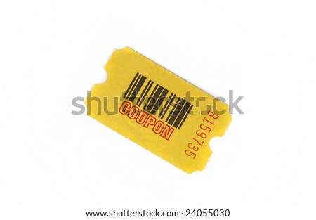 yellow coupon with serial number and bar code isolated against white background - stock photo