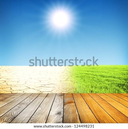 Yellow cracked ground - stock photo