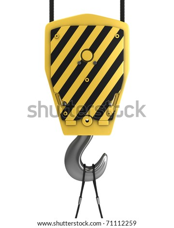 Yellow crane hook, front view, isolated on white background - stock photo
