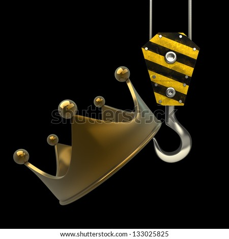 Yellow crane hook lifting golden crown isolated on black background High resolution 3d illustration - stock photo