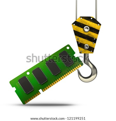 Yellow crane hook lifting RAM Memory Card isolated on white background High resolution 3d illustration - stock photo