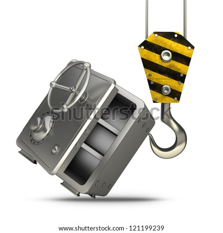 Yellow crane hook lifting steel bank safe  isolated on white background High resolution 3d illustration - stock photo