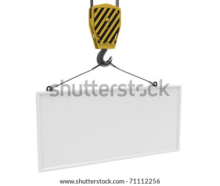 Yellow crane hook lifting white blank plane for text, isolated on white background - stock photo