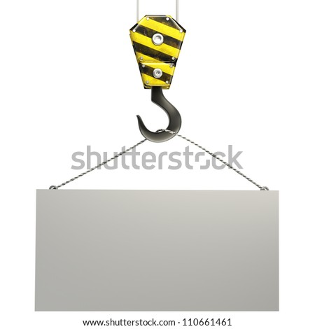 Yellow crane hook lifting white blank plane, isolated on white background 3d illustration, - stock photo