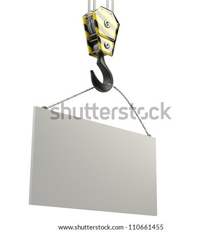 Yellow crane hook lifting white blank plane, isolated on white background 3d illustration, High resolution - stock photo