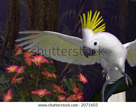 yellow-crested cockatoo in a good mood, 3d-illustration - stock photo