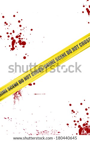 Yellow crime scene cordon tape isolated on white background with blood splatter - stock photo