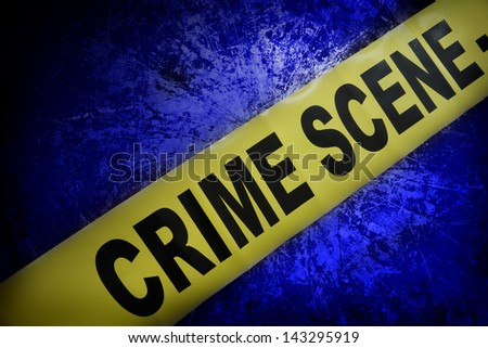 yellow crime scene tape on blue textured background - stock photo