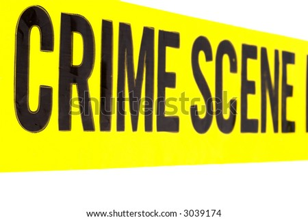 Yellow Crime Scene Tape with Copy Space - stock photo