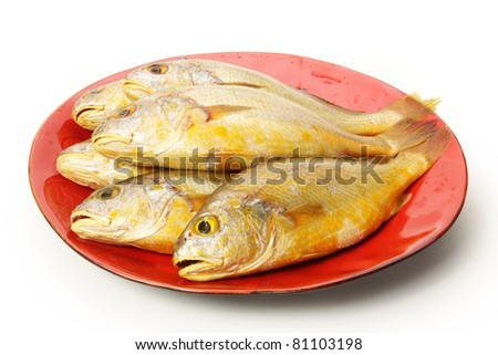 Yellow Croaker Fish On White background